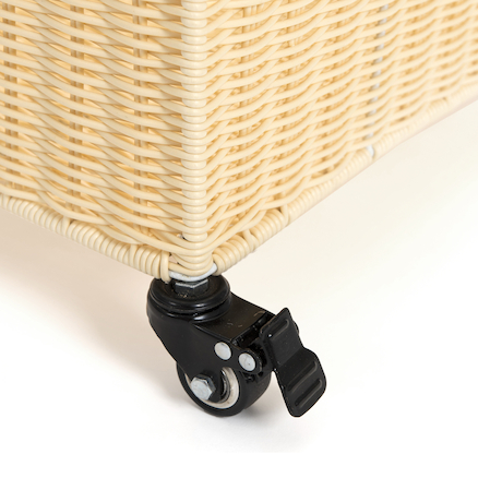Large Faux Wicker Basket with Castors  large