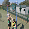 Wheel\-Away Adjustable Netball Posts and Bases Pair  small