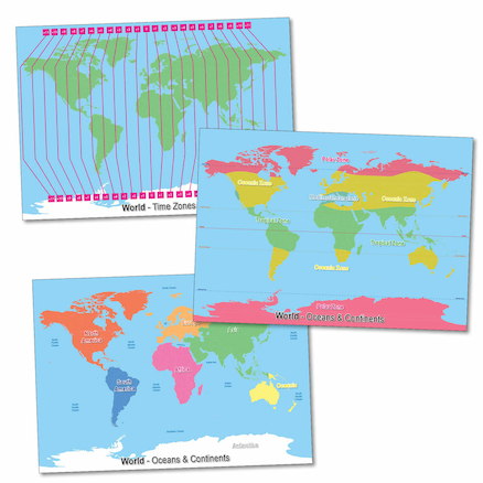 Climate and Time Zones World Maps A1 3pk  large
