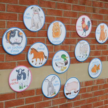 French Animals Vocabulary Playground Signs  large