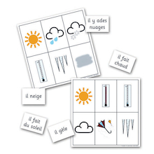 Weather French Vocabulary Bingo Game  medium