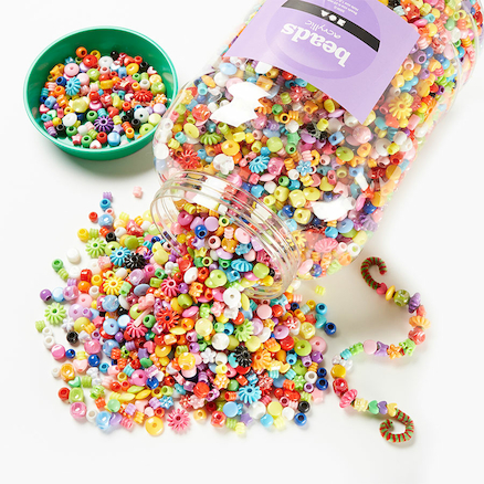 Assorted Bucket Of Plastic Beads 3kg  large