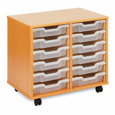 Mobile Tray Storage Unit With 12 Shallow Trays  large