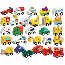 Small World Wooden Vehicles Set 24pcs  medium