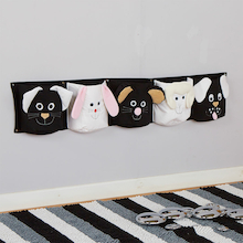 Black and White Wall Mounted Storage Pockets  medium
