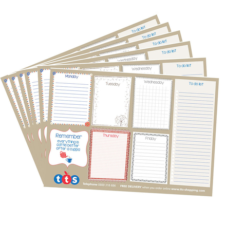 TTS Week Planner Notepads 19.5 x 27.5cm 6pk  large