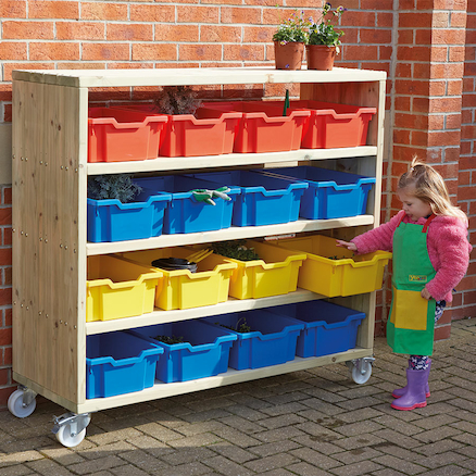Large Outdoor Wooden Mobile Shelving Unit  large