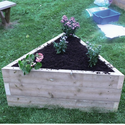 Triangular Wooden Grow Bed  large