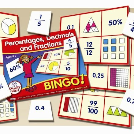 Percentages, Decimals And Fractions Bingo Game  large