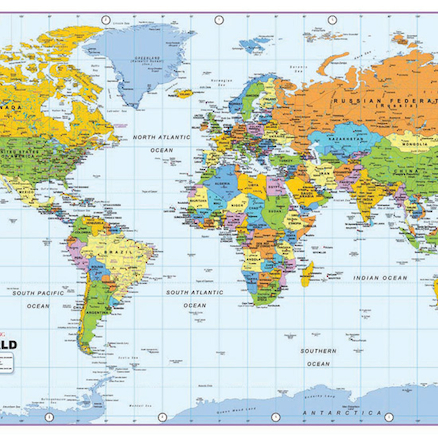 Buy World Map Vinyl A TTS - Where to buy a world map