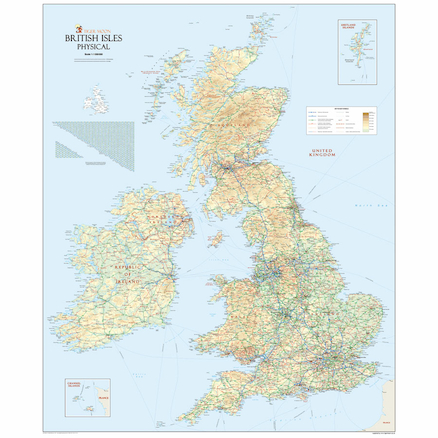 UK Physical Political Reversible Map A0  large