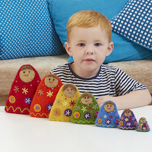 Babooshka Count and Size Felt Russian Dolls 7pcs  medium