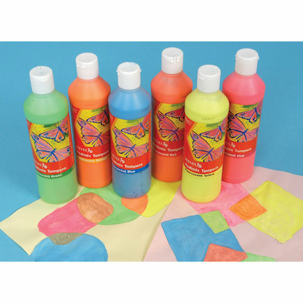 Fluorescent Ready Mixed Paint Assorted 500ml 6pk  large