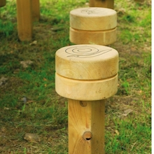 Engraved Outdoor Wooden Button Stool  medium