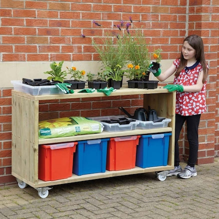 Outdoor Wooden Mobile Shelving Unit  large
