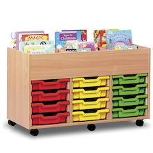 12 Shallow Tray unit with book storage  medium
