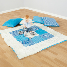Teal Textured Baby Mat and Cushions  medium
