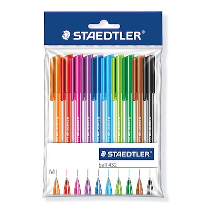 Assorted Staedtler® Medium Ballpoint Pens 10pk  large
