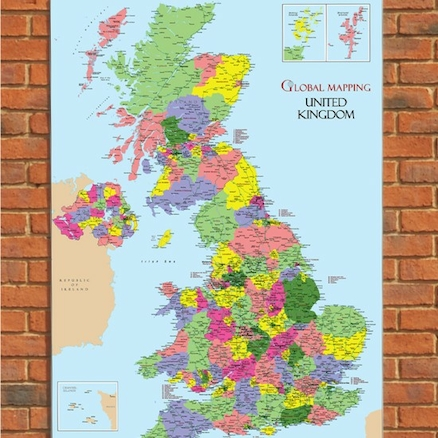 UK Outdoor Map Political H155 x W100cm  large