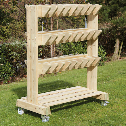 Outdoor Wooden Wellie Storage Trolley  large