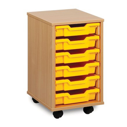 Mobile Tray Storage Unit With 6 Shallow Trays  large