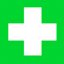 Self Adhesive Green First Aid Sign  medium