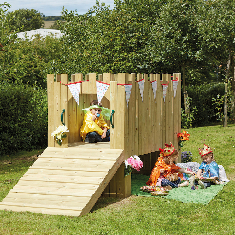 outdoor wooden role play castle