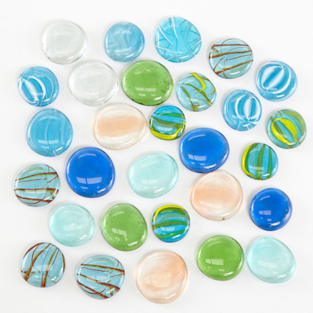 Transparent Coloured Glass Pebble Counters 30pcs  large
