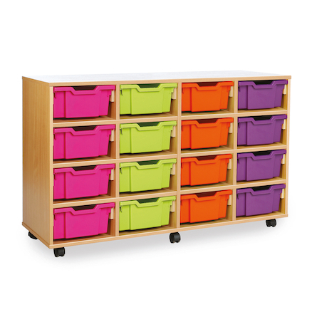 Mobile Tray Storage Unit With 16 Deep Trays  large