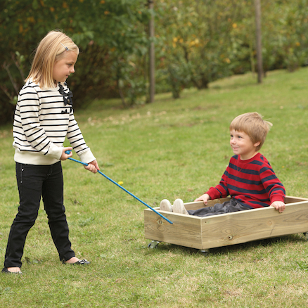 Outdoor Wooden Pull Along Cart  large