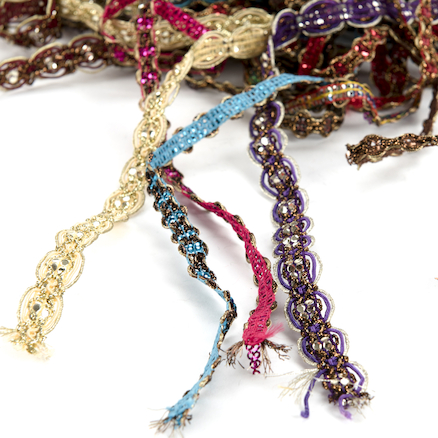 Assorted Sparkling Jewelled Indian Fringe 10 x 2m  large