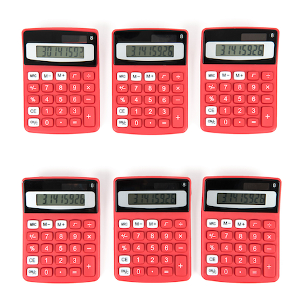 Big Button Coloured Calculators 6pk  large
