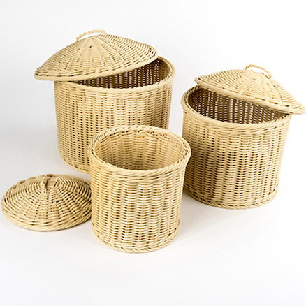 Buy Woven Nesting Storage Baskets With Lids Tts