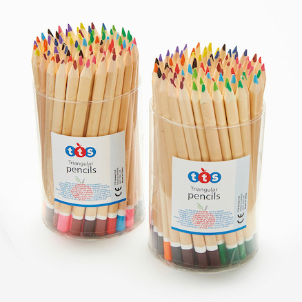 TTS Triangular Assorted Colouring Pencil Tubs  large