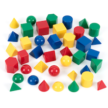 Plastic Mini Relational 3D GeoSolids 40pcs  medium