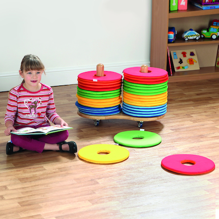Multicoloured Donut Cushions and Trolley 32pk  large