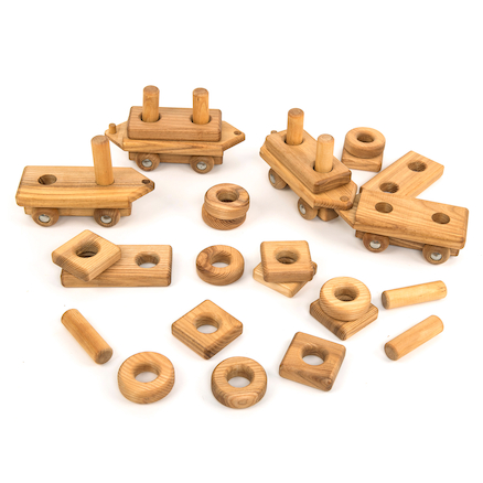 Wooden Toddler Train with Building Blocks  large