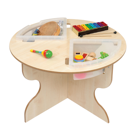 Round Indoor Table with Inset Trays  large
