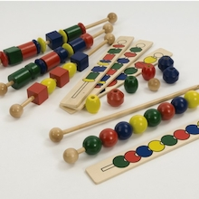 Wooden Coloured Sequencing Beads  medium