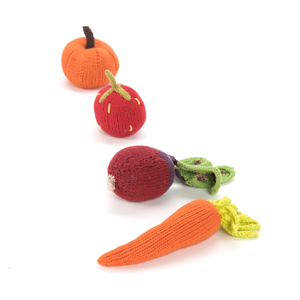 Fairtrade Crocheted Fruit & Veg Baby Rattles 8pcs  large