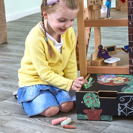 Open Plan Chalkboard Fronted Dolls House  large