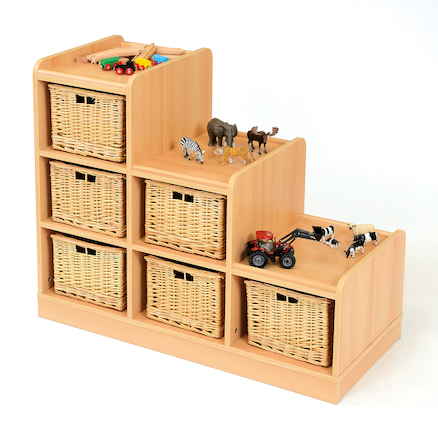 Tiered Storage Units With Wicker Baskets  large