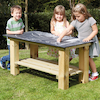 Outdoor Rectangular Chalkboard Table and Benches  small