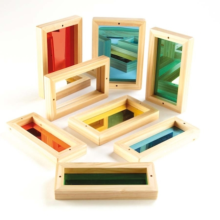 Wooden Framed Coloured Mirrors for Babies 8pk  large