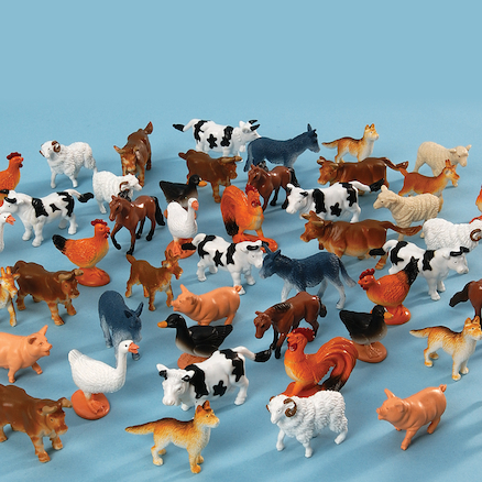 Plastic Mini Farm Animals 48pk  large
