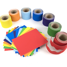 Corrugated Border Rolls Rainbow 57mm x 15m 7pk   medium