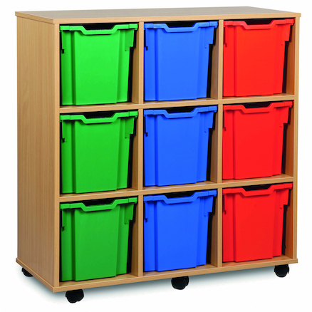 Mobile Tray Storage Unit With 9 Jumbo Trays  large