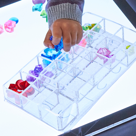Lightbox Clear Acrylic Sorting Tinker Tray  large