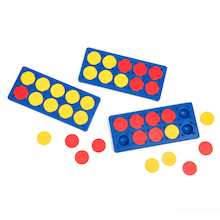 Plastic Ten Frame and 2 Colour Counters 10pk  medium