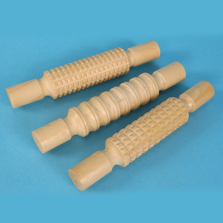 Wooden pattern rollers\-pk3  large